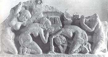 Women Adoring Buddha's Footprints: Amaravati, 1st century B.C. to 1st century A.D.