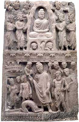 Relief with scenes from the Buddha's life showing clear Greek influence. Pakistan (ancient Gandhara); 2nd/3rd cen. Gray schist; 60 X 37.1 X 7.3 cm (235/8 X 145/8 X 27/8 in.)