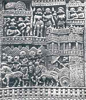 Buddha visiting the city of Kapilavastu: Sanchi, 2nd - 1st century  B.C.