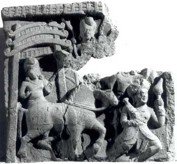 Mahabhinishkramana, or the Great Departure. The attendant besides  the empty horse holds an umbrella (now broken): Satavahana, 2nd century  B.C.