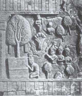 Naga Erapata Worshipping Buddha: Bharhut, Early 1st century BC.