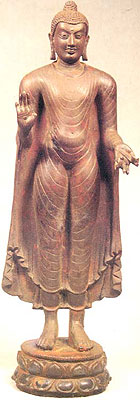 Buddha: A Monk Teacher Pala style, circa A.D. 7th-8th century Nalanda, Bihar, Eastern India Bronze, 27.8 X 8.8 X 6.8 cm