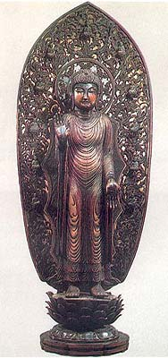 The Image of Shakyamuni Buddha from Seiryoji, Kyoto, Japan, AD 987, said to be based on king Udayana's first image of Buddha.