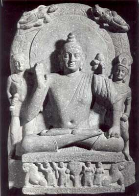 Buddha flanked by Vajrapani holding a vajra to his right: Kushana  style: Mathura, dated 110 A.D.