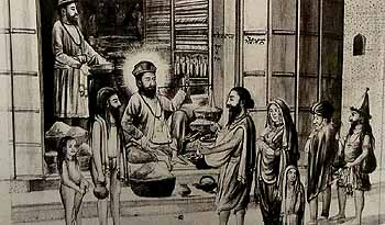 Guru Nanak at Daulat Khan Lodhi's shop