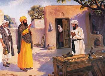Guru Nanak with Bhai Lalu the Carpenter