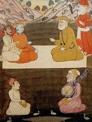 Guru Nanak with Saint Gorakhnath
