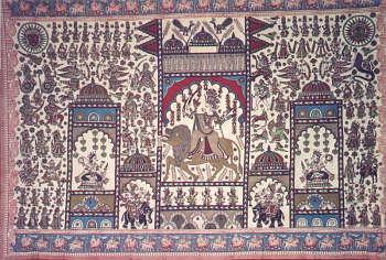 A Rajasthani  Phada Depicting Mahadurga