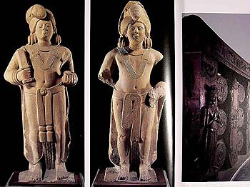 The Right Figure is identified as Agni, the Priest of the Gods, because of the Central Protuberance of his Headgear