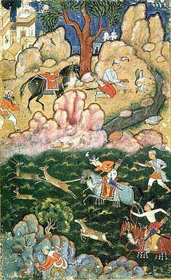 Prince Akbar Hunting a Nilgae, circa 1555 - 1560 (Fitzwilliam Museum, Cambridge).