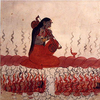 Black-complexioned Saraswati with normal two arms conducting 'badavagni' - ocean-fire, into the western ocean; Rajasthan, late 18th or early 19th century; collection: National Museum, New Delhi