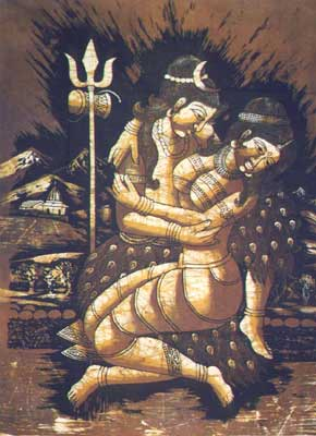 Goddess Parvati and Lord Shiva in loving embrace
