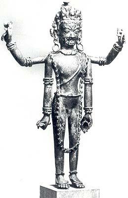Shiva, the Supreme Beggar (Bhikshatanamurti) Malla Dynasty, Nepal. 16th century Copper (Height 9