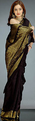 Black Crepe Sari With Golden Thread Weave