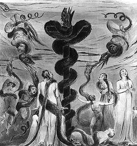 William Blake. Moses Erecting the Bronze Serpent. c.1805. Pen and watercolor over pencil, 13 3/8 X 12 3/4""