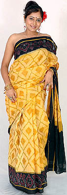 Buff And Black Ikat Sari From Pochampally