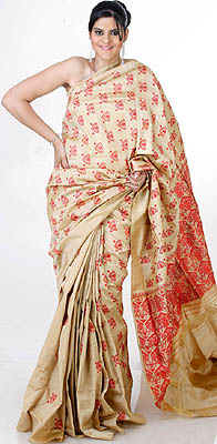 Buff Handwoven Moonga Silk Sari From Assam