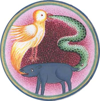 Wheel of life : pig, bird and snake