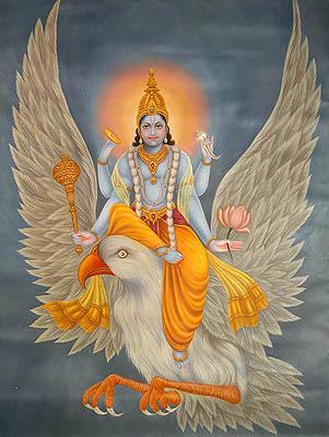 Chaturbhuja Shri Vishnu on His Mount Garuda
