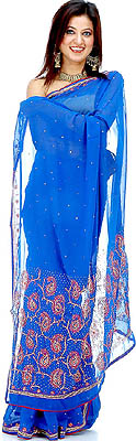 Cobalt Blue Sari With Sequins And Threadwork