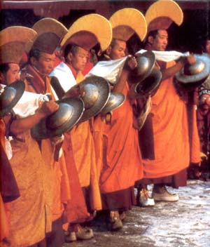 Monks playing cymbals