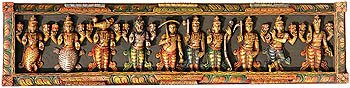 Dashavatara Panel -The Ten Incarnations of Lord Vishnu (From the Left - Matshya, Kurma, Varaha, Narasimha, Vaman, Parashurama, Rama, Balarama, Krishna and Kalki)