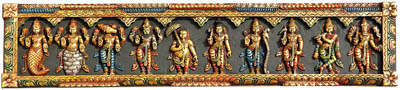 Dashavatara Panel: Ten Incarnations of Vishnu (From Left - Matshya, Kurma, Varaha, Narasimha, Vaman, Parashurama, Rama, Balarama, Krishna and Kalki)