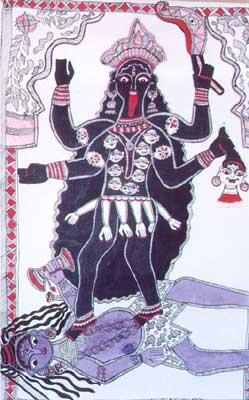 Goddess Kali standing on Lord Shiva