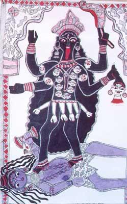 Goddess Kali standing on Lord Shiva