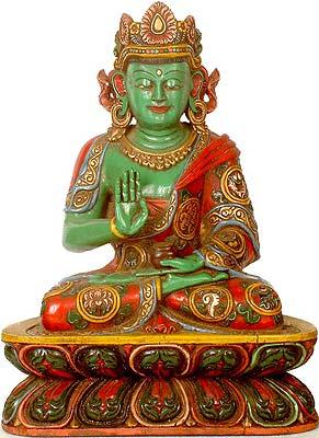 Crowned Buddha in Abhaya Mudra