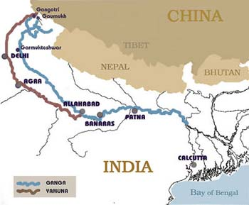 Map of River Ganga