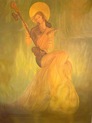 Goddess Saraswati in a Swan Sari