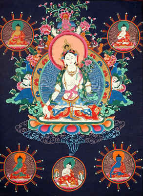 Goddess White Tara and Cosmic Buddhas