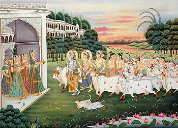 Gopis Welcome Krishna, Balarama and their Companions in the Evening
