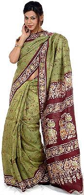 Green Batik Sari From Kolkata