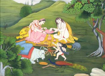 Goddess Parvati and Lord Shiva Lord, alongwith their sons, Lord Ganesha and Lord Kartikeya