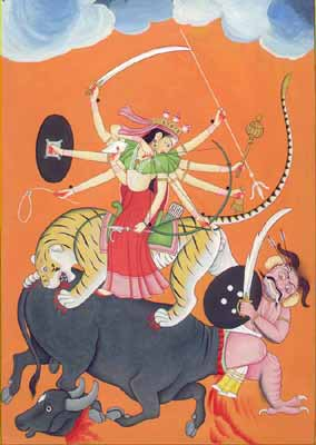 Goddess Durga Slaying Demon Mahisasura