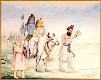 Goddess Parvati and Lord Shiva sitting on the divine ox Nandi
