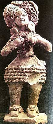 Mother Goddess: Lotus motifs in hair-dress, Late Harappan
