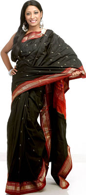 Handwoven Black Paithani Sari With Zari Pallu