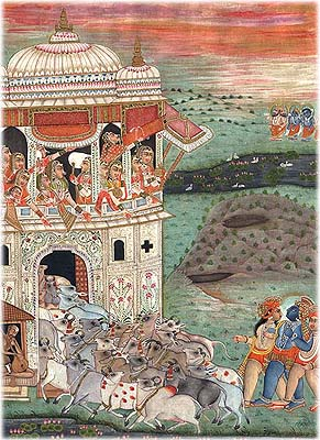 Krishna and Gopas Back with Cows