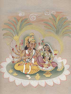 Ganesha Seated with Consort on Lotus