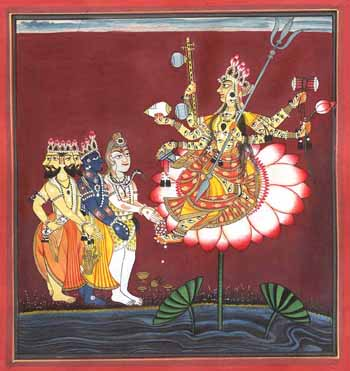 The Devi is Venerated by Brahma, Vishnu and Shiva