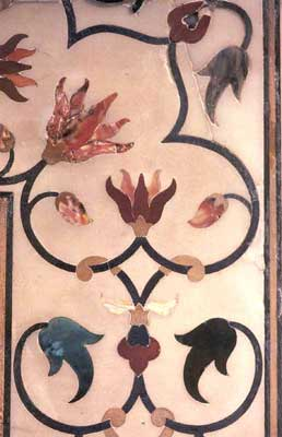 Inlay work on marble in Taj Mahal