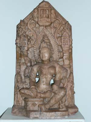 Jain Saraswati with idol of Tirthankara Mahavira in her coiffure: marble, Rajasthan, collection: National Museum, New Delhi