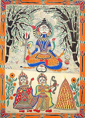 Kamadeva Reduced to Ashes by Shiva's Wrath
