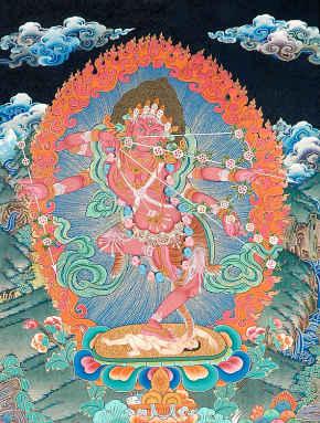 Red Tara Kurukulla with Pancha Mahabhuta Landscape
