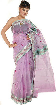 Lavender Chanderi Sari With Golden Bootis And Brocaded Weave