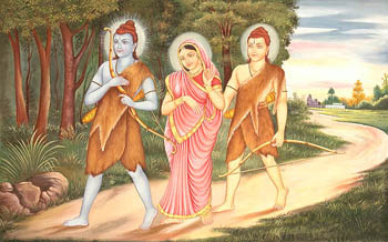 Lord Rama Sita and Lakshmana in Exile