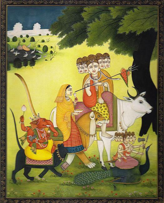 Descenso del Señor Shiva y Familia de Kailash